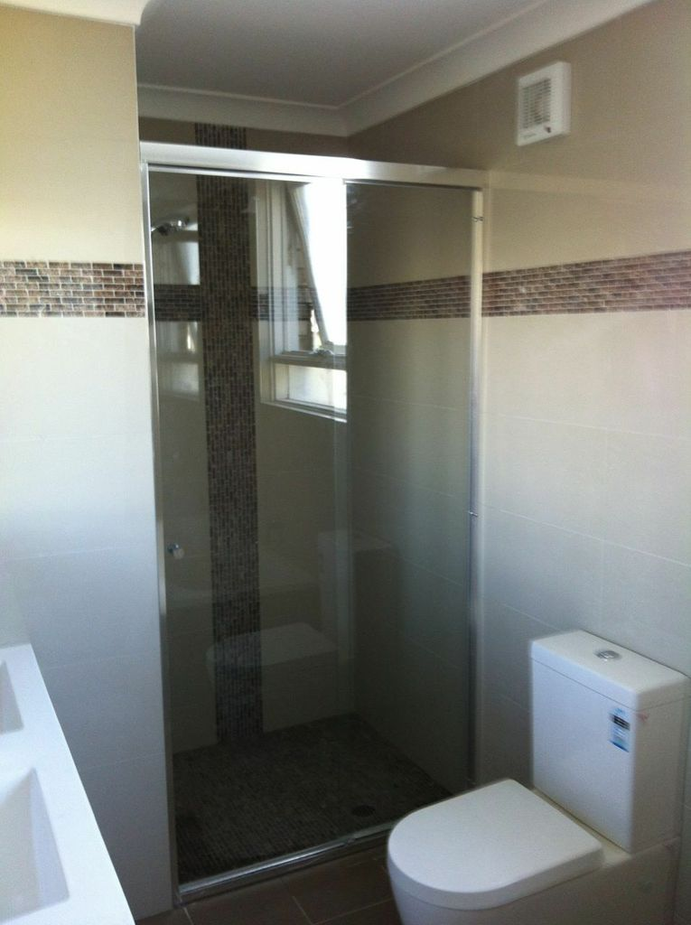 Semi Frameless Shower Screen with Grey Tint Toughened Glass
