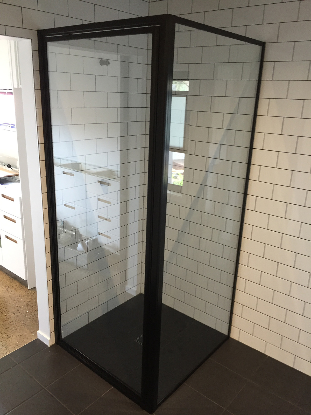 Semi Frameless Shower Screen Black Frame